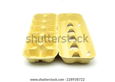 empty eggs box on white fund - stock photo