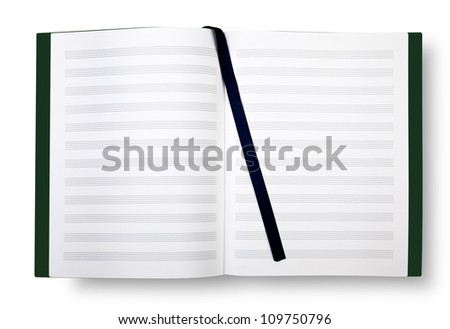 Empty exercise book with pentagrams, bookmark on white and shadow - stock photo