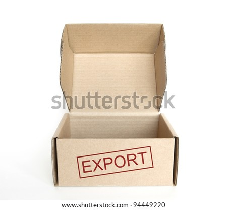 empty export cardboard box on white background - stock photo