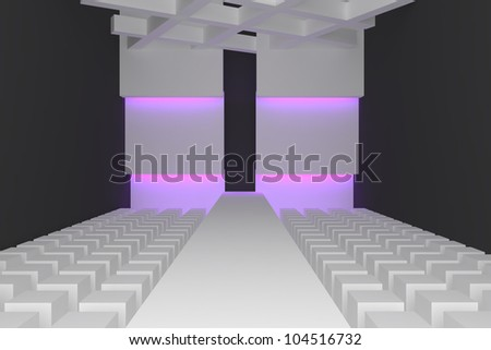 Empty fashion runway purple color lighting and black wall. - stock photo