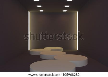 Empty fashion runway yellow color lighting and black wall. - stock photo