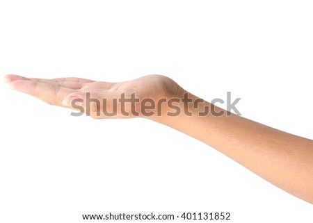 Empty female hand in closeup holding gesture isolated on white background. - stock photo