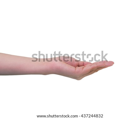 Empty female teen open hand isolated on white background, with clipping path.