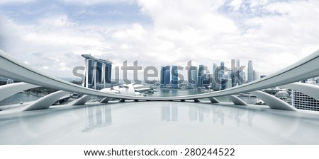 Empty floor and modern cityscape - stock photo