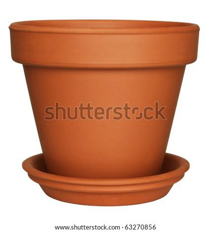 Empty Flower Pot isolated on white - stock photo