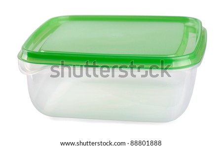 Empty food plastic container with green lid isolated on white - stock photo