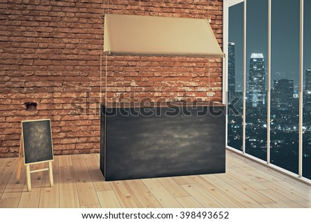Empty food stand and menu board in shop interior at night. Mock up, 3D Rendering - stock photo