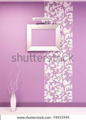 Empty frame for photo on decorative violet wall with vegetable ornament in modern interior. Living room. Hall. Children flat. - stock photo