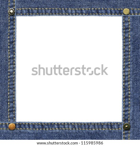 Empty frame made of blue denim, decorated with metal jeans rivets