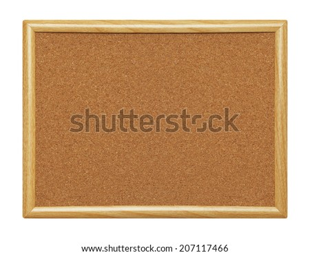 Empty Framed Wood Cork Board Isolated on a White Background.