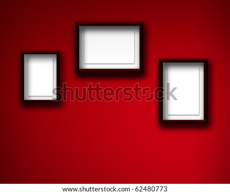 EMPTY FRAMES FOR PICTURES ON THE WALL - stock photo