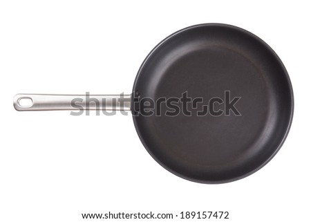 empty frying pan isolated on white background - stock photo