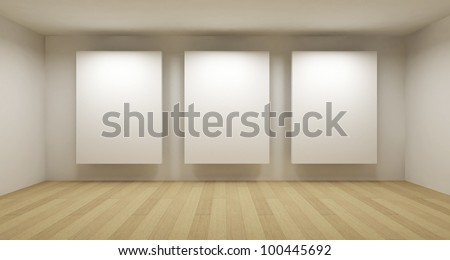 Empty gallery, 3d room - stock photo
