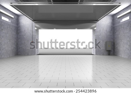 Empty Garage 3D Interior with Opened Roller Door. 3D Rendering - stock photo