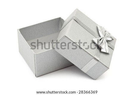 Empty gift box isolated on white background - stock photo