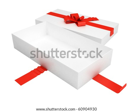 empty gift box with red ribbon and cover - stock photo