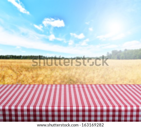Empty gingham table with blue sky in background. Ready for product display montage.  - stock photo