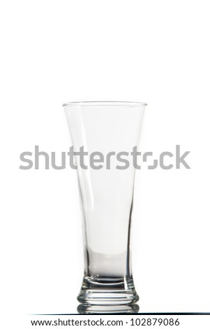 Empty glass against a white background