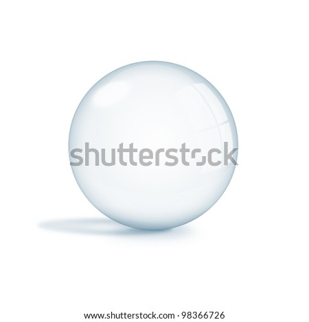 Empty glass ball, sphere isolated on white background - stock photo