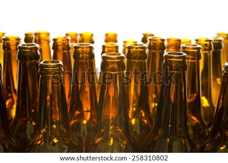 Empty glass beer bottles - stock photo