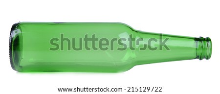 Empty glass bottle isolated on white - stock photo