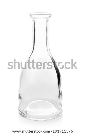 Empty glass bottle isolated on white background.