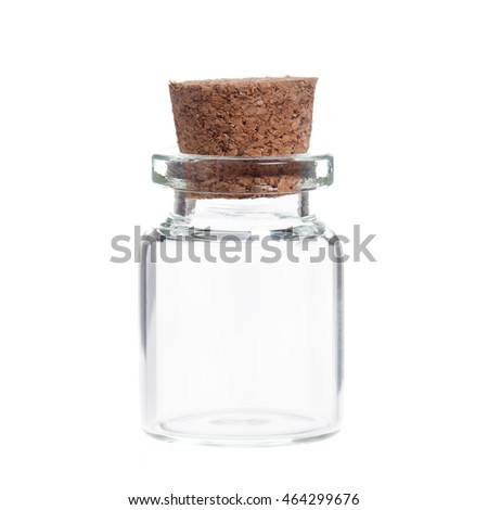 Empty glass bottles with cork stopper isolated on white background.