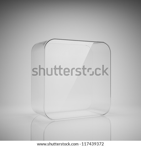 Empty glass box for exhibit - stock photo