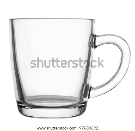 Empty glass coffee latte cup isolated on white background - stock photo