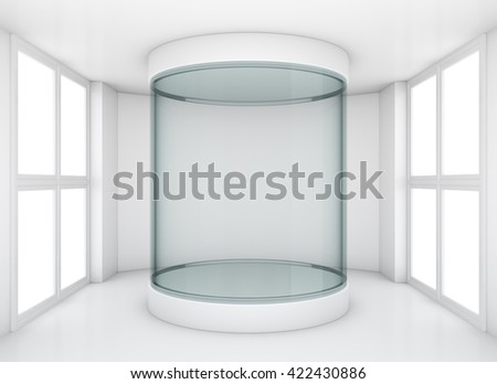 Empty glass cylindrical showcase in clean gallery room with windows. 3D rendering - stock photo