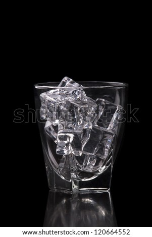 Empty glass filled with ice cubes o na black; black and white