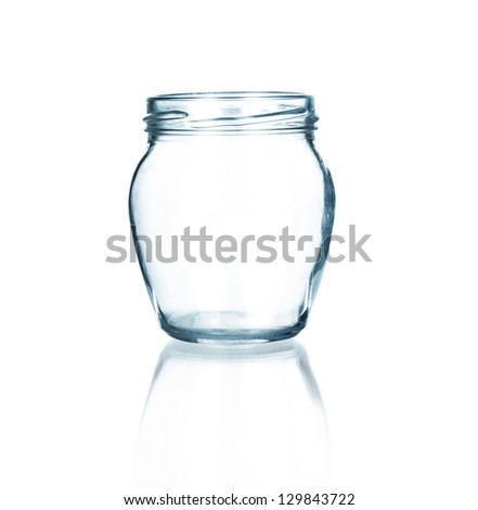 Empty glass jar isolated on white background