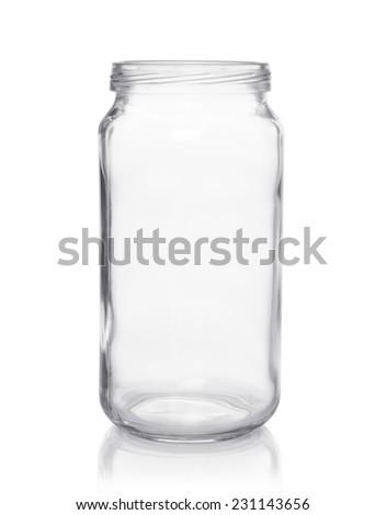 empty glass jar on a white background - stock photo