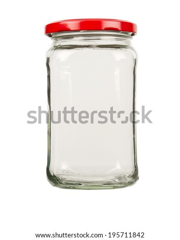 Empty glass jar with red cap  - stock photo