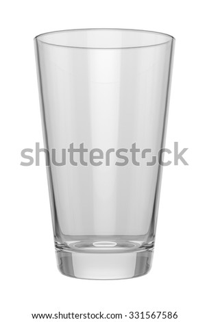 Empty glass on white background, mock up. Easy place your logo on this blank surface. 3D illustration