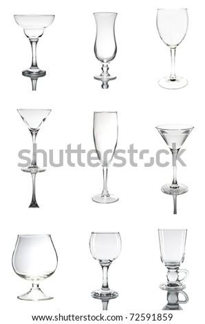 empty glass set on white background - stock photo