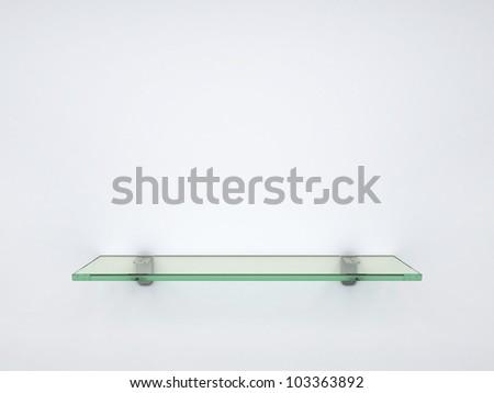 empty glass shelf - stock photo