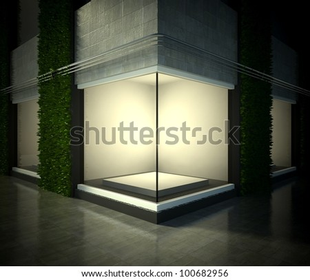 Empty glass showcase, 3d exhibition space on street - stock photo