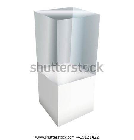 Empty glass showcase for exhibit. 3D illustration isolated on white background. Trade show booth white and blank pedestal with glass box for expo design.  - stock photo