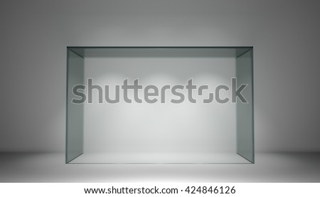 Empty glass showcase for exhibit in clean gray room. 3d rendering - stock photo