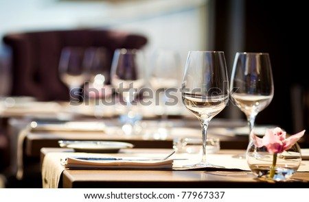 Empty glasses in restaurant