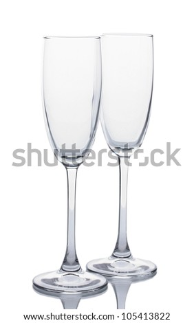 empty glasses of champagne isolated on a white