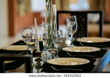 Empty glasses set in restaurant on the table