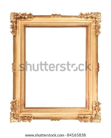 Empty golden vintage frame isolated on white background - stock photo