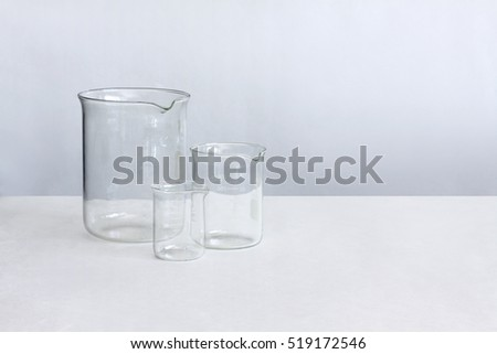 Empty graduated cylinders, laboratory glassware. Chemistry apparatus.