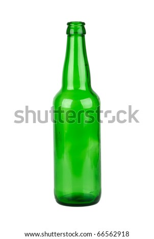 Empty green beer bottle  isolated on the white background - stock photo