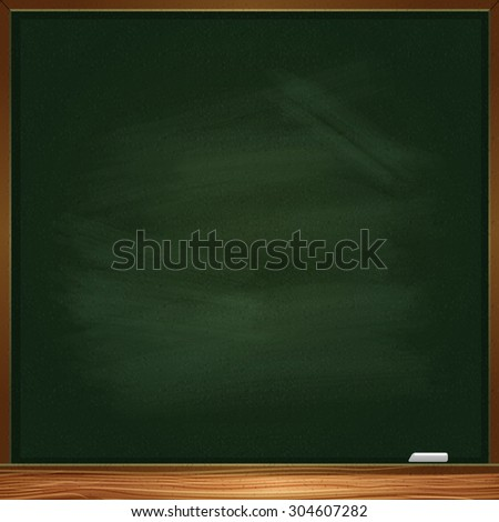 Empty green blackboard with chalk. Green color.