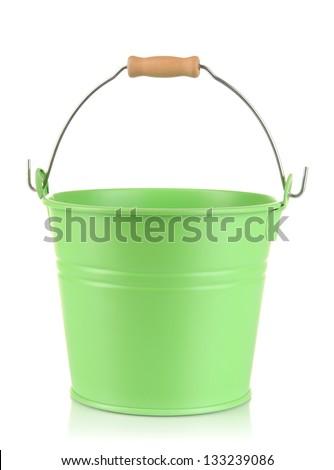 Empty green bucket isolated on white - stock photo
