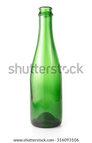 Empty Green Glass Beer Bottle on the white background