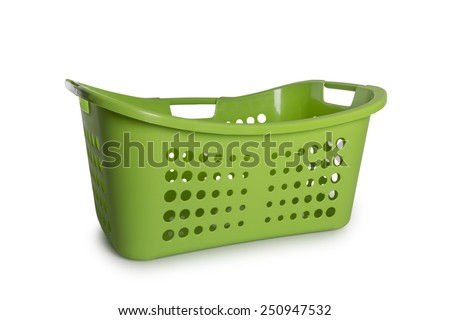 Empty Green Laundry Basket isolate on white background - stock photo